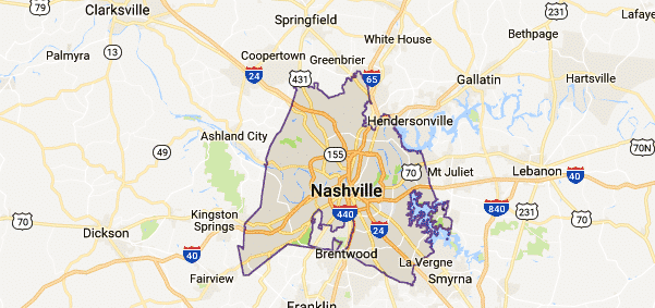 Nashville Tn Map Nashville, TN Map   Event Technology Rentals Nashville Tn Map